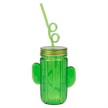 Gobelet cactus avec paille tourbillon en plastique vert