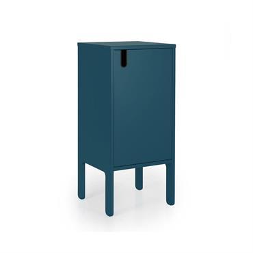 Table de chevet 1 porte style minimaliste Bleu