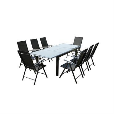 Table de jardin et 8 chaises en aluminium gris