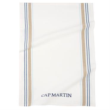 Torchon en coton beige motifs à rayures bleues 50x70