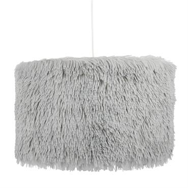 Suspension en coton imitation fourrure grise