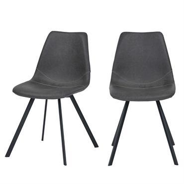 Chaise en cuir synthétique gris