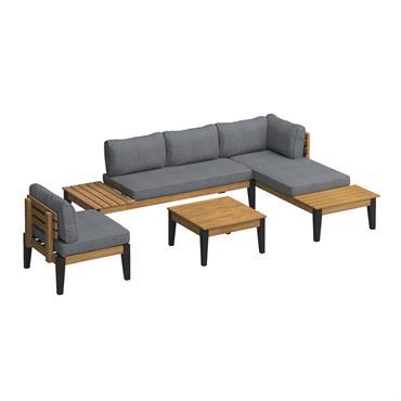 Salon de jardin 5 places en bois d'acacia