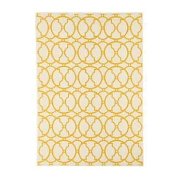 Tapis géométrique design en polypropylène ivoire 133x190