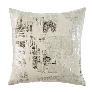 Coussin en coton écru imprimé gris anthracite et argenté 45x45