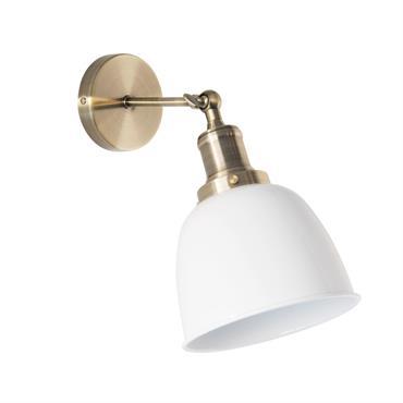 Applique en métal et globe blanc