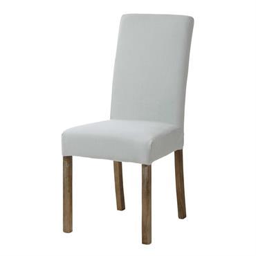Housse de chaise en lin bleu glacier MARGAUX