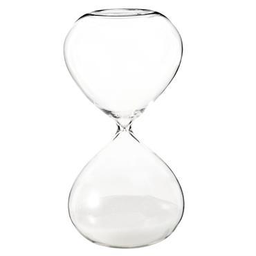 Sablier blanc en verre