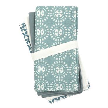 Serviettes en coton bleu et vert 42x42