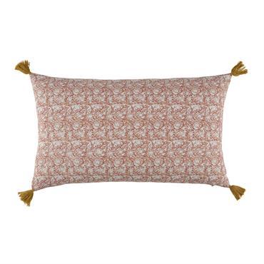 Coussin en coton rose et jaune moutade à pompons 30x50