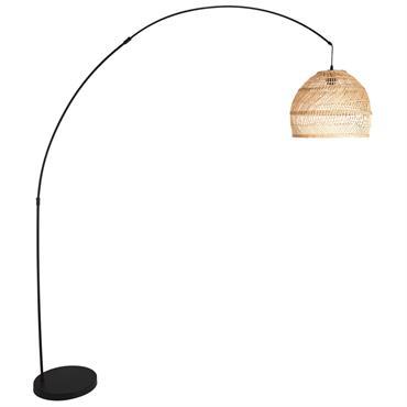 Lampadaire en rotin tressé et métal noir H