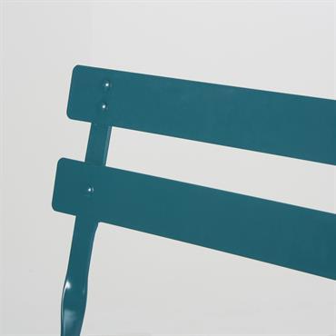 2 chaises de jardin pliantes en métal époxy bleu canard H80 Guinguette