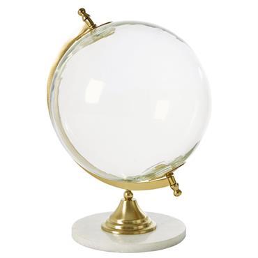 Globe terrestre en verre et marbre blanc