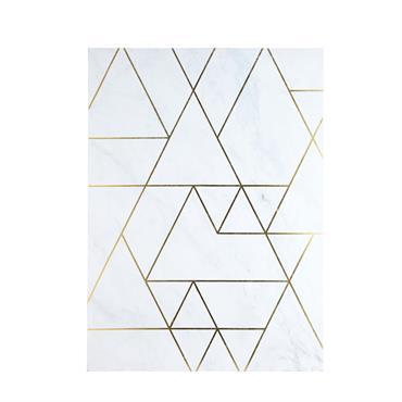 Tableau graphique effet marbre blanc et doré 80x111