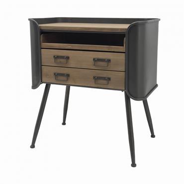 Table de chevet à tiroir en métal couleur anthracite et bois