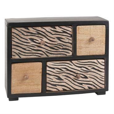 Boîte de rangement 4 tiroirs en manguier motif zébré