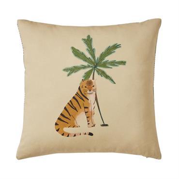 Coussin en coton beige imprimé tigre et palmier 40x40