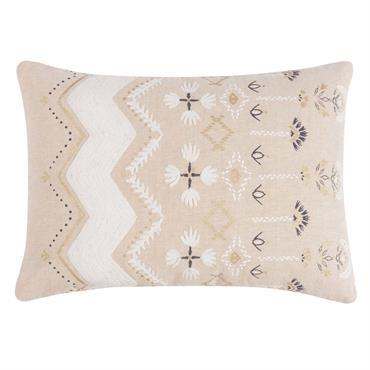 Housse de coussin en coton beige à motifs 50x30