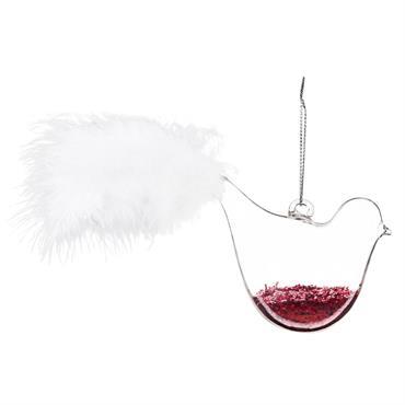 Suspension de Noël oiseau en verre et paillettes rouges