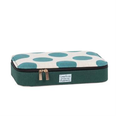 Boîte à bijoux verte et écrue motifs à pois