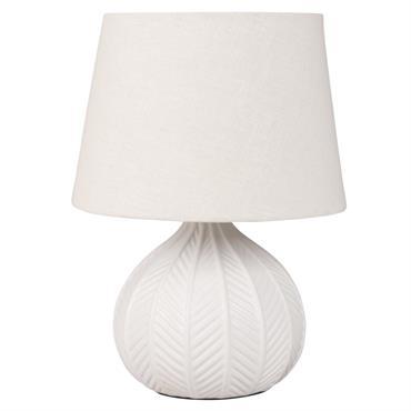Lampe en céramique blanche et abat-jour écru