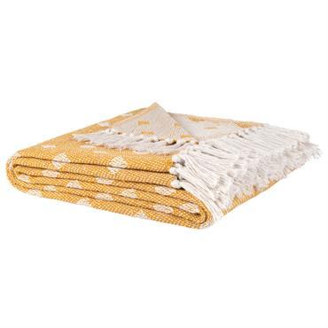 Plaid en coton recyclé jaune motifs graphiques blancs 150x200