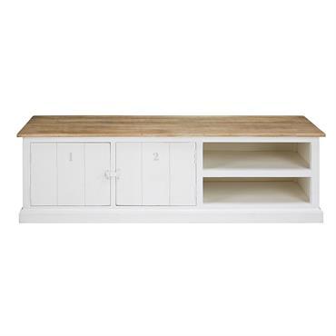 ENVIE D'ÉVASIONOptez pour une touche de clarté dans votre salon en choisissant le meuble TV en manguier massif grisé et blanc MARLONE.ÉPURÉ ET IODÉVous aimerez ce meuble aux teintes naturelles ...