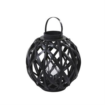 Lanterne en bambou noir et verre H45