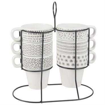Support 6 tasses en faïence motifs graphiques noirs et blancs