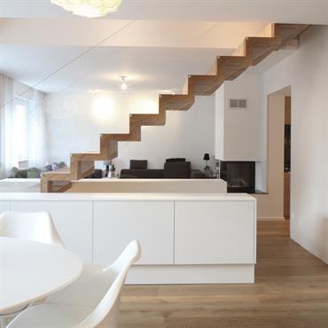 Escalier sur mesure - multiplis de bouleau - rambarde en plexi - agencement d'intérieur - porte dérobée  Domozoom