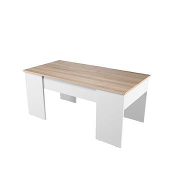 Table basse blanche/bois avec plateau relevable et rangement