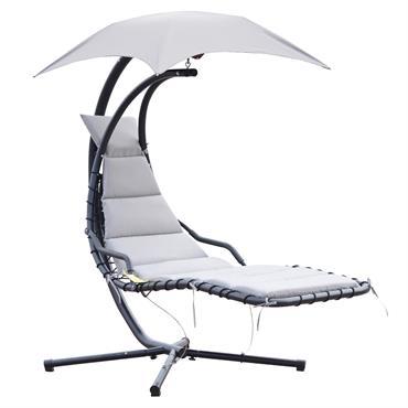 Transat suspendu design contemporain pare-soleil matelas inclus gris