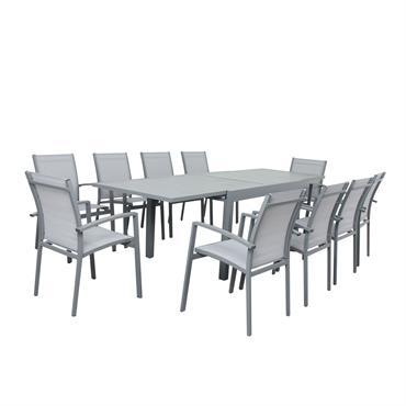 Table de jardin 10 places en aluminium gris