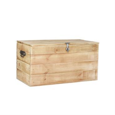 Le coffre de rangement HUGO en bois massif vous séduira grâce à son design minimaliste et ses accessoires élégants en métal brut qui apporteront un look industriel à votre pièce. ...