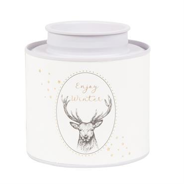 Boîte à thé en métal blanc imprimé cerf