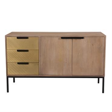 Buffet 3 tiroirs 2 portes en bois de manguier et métal doré