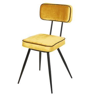Avec sa jolie teinte jaune, la chaise en velours et métal noir CLAPPER égayera votre pièce en un clin d'il ! Son design minimaliste et sophistiqué inspiré du style vintage ...