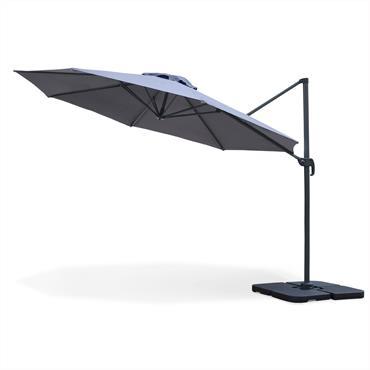 Parasol déporté rond en aluminium D 350cm gris