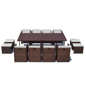 Table et chaise 12 places encastrables alu résine marron/blanc