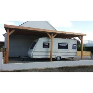 Abri camping car adossé toit plat en bois Douglas CPBF