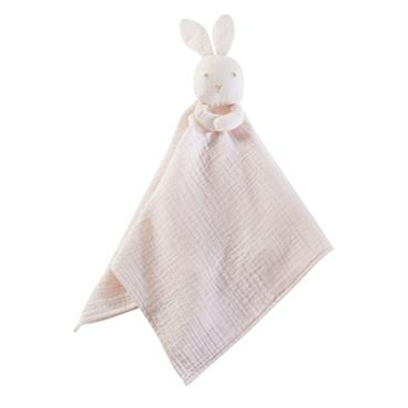 Doudou bébé lapin en coton rose