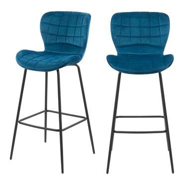 Chaise de bar 75 cm en velours bleu