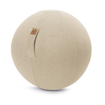 Balle d'assise aspect feutrine beige avec poignée polyester D65