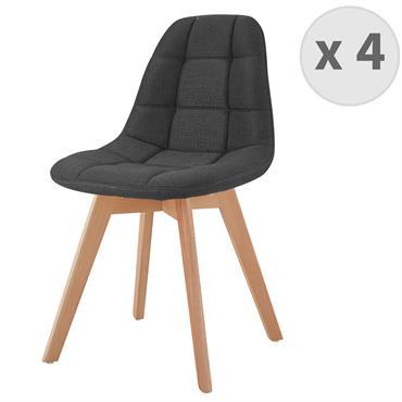 STELLA-Chaise scandinave tissu anthracite pied hêtre
