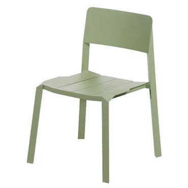 Chaise empilable Tri tube / Aluminium - Spécimen Editions vert olive en métal