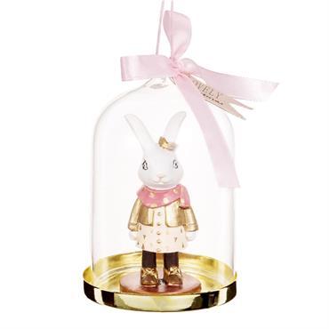 Suspension de Noël sous cloche en verre décor lapin