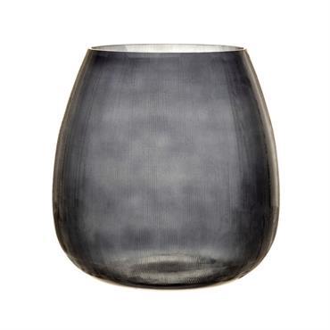 Photophore en verre strié teinté gris anthracite