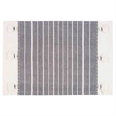 Set de table en coton gris foncé motifs rayures 33x48
