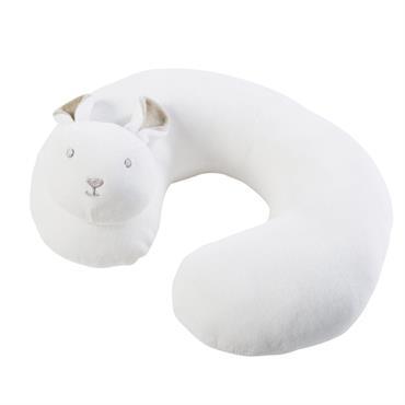 Coussin de voyage lapin imitation fourrure blanche