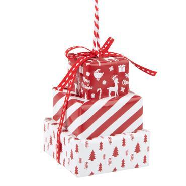 Suspension de Noël cadeaux rouges et blancs